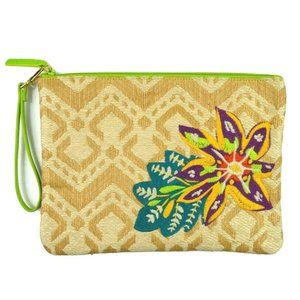 Vera Bradley Straw Beach Embroidered Clutch